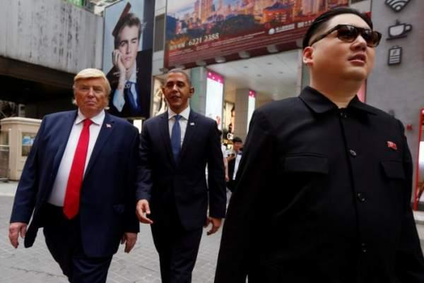 """""""Trump, Obama và Kim Jong-un"""" gây náo loạn Hồng Kông 1"""