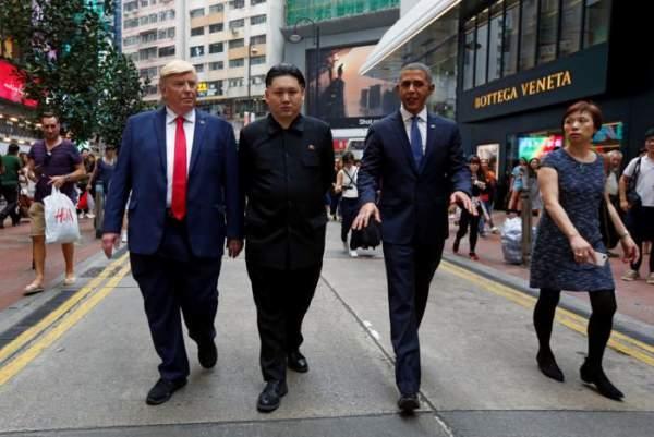 """""""Trump, Obama và Kim Jong-un"""" gây náo loạn Hồng Kông 2"""