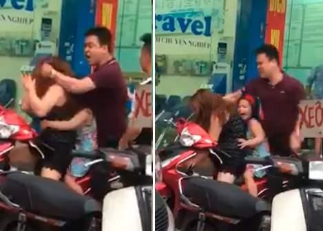 Clip: Cô bé khóc thét vì mẹ bị người đàn ông đánh dã man giữa đường 1