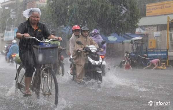 """TP.HCM: Người dân lại """"bơi"""" trong cơn mưa trắng trời, xe chết máy la liệt 3"""