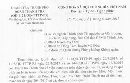 Hà Nội thông báo kết thúc thanh tra Đồng Tâm 1