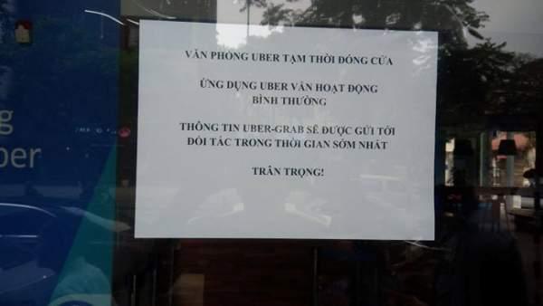 Văn phòng Uber Việt Nam tạm đóng cửa sau vài giờ Grab phát thông cáo sáp nhập 1